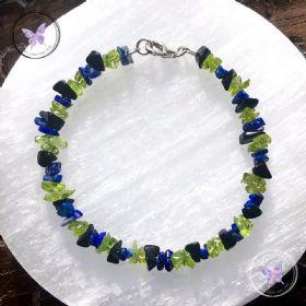 Lapis Lazuli, Peridot & Black Onyx Chip Bracelet